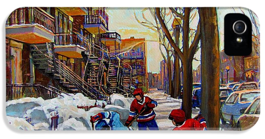 Hockey Canvas Prints IPhone 5 Case featuring the painting Hockey On De Bullion by Carole Spandau