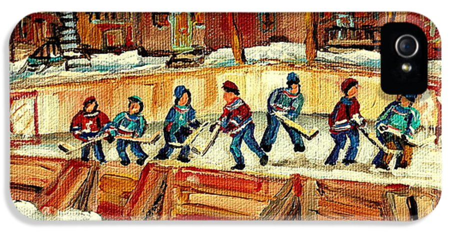 Hockey Rinks In Montreal IPhone 5 Case featuring the painting Hockey Rinks In Montreal by Carole Spandau