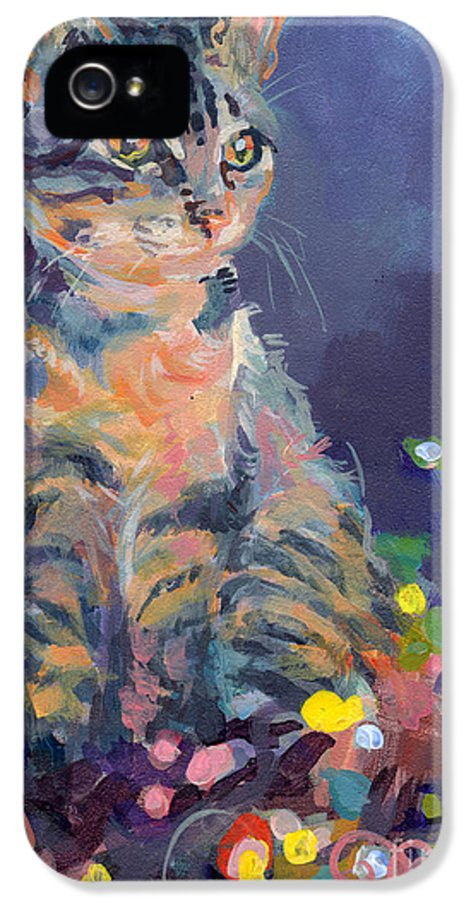 Gray Tabby IPhone 5 Case featuring the painting Holiday Lights by Kimberly Santini