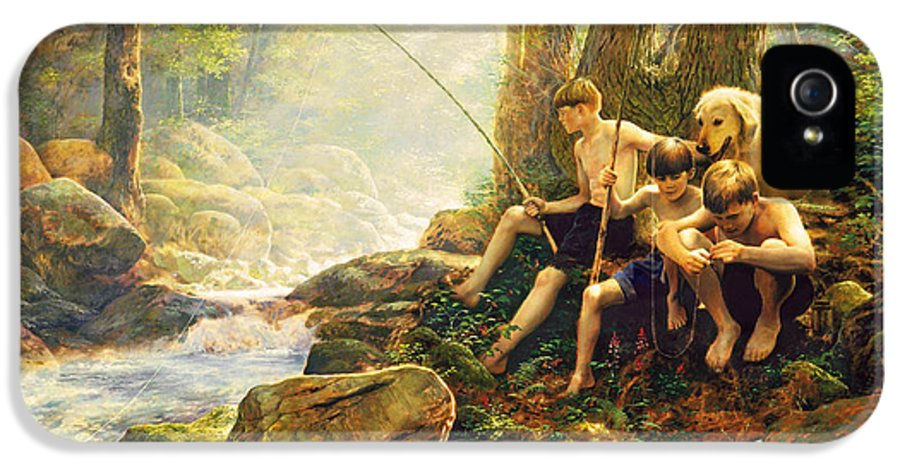Fishing IPhone 5 Case featuring the painting Hook Line And Summer by Greg Olsen