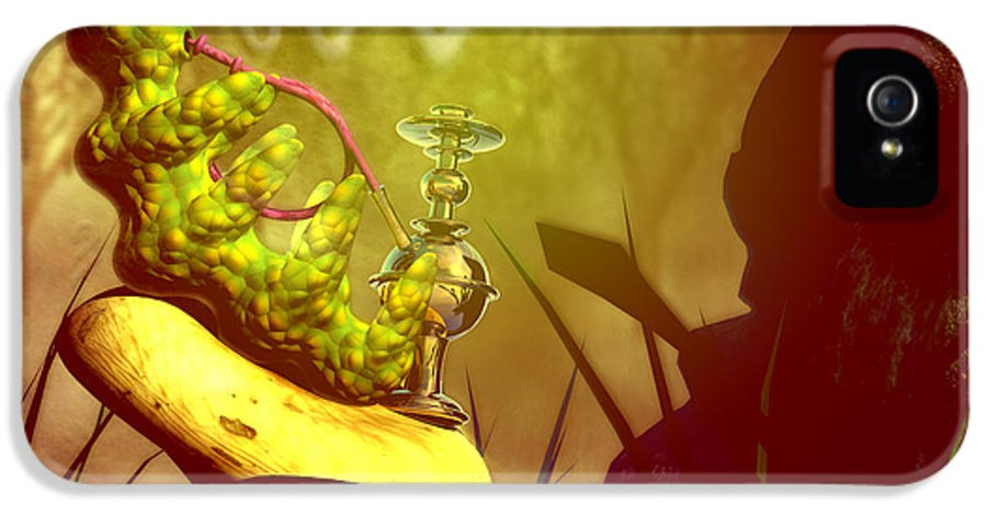Alice In Wonderland IPhone 5 Case featuring the digital art Hookah Smoking Caterpillar by Carol and Mike Werner