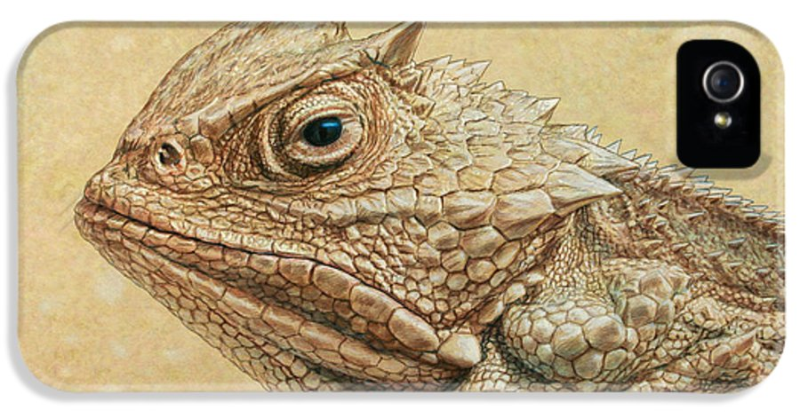 Horned Toad IPhone 5 Case featuring the painting Horned Toad by James W Johnson