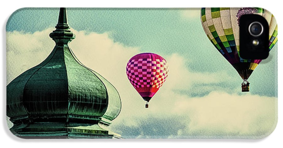 Hot Air Balloon IPhone 5 Case featuring the photograph Hot Air Balloons Float Over Lewiston Maine by Bob Orsillo