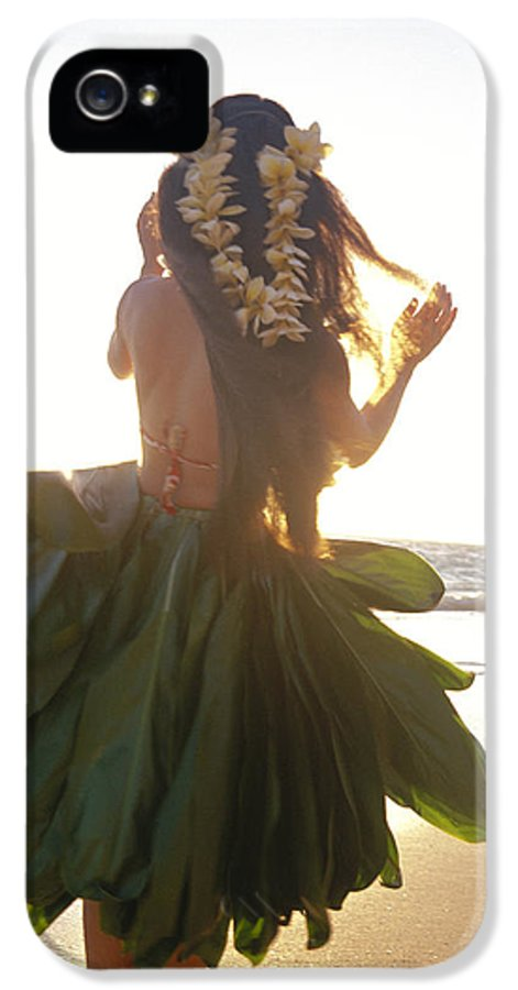 Back View IPhone 5 Case featuring the photograph Hula At Sunrise by Tomas del Amo - Printscapes