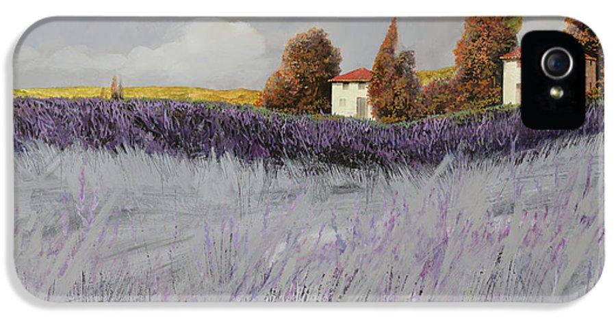 Lavender IPhone 5 Case featuring the painting I Campi Di Lavanda by Guido Borelli