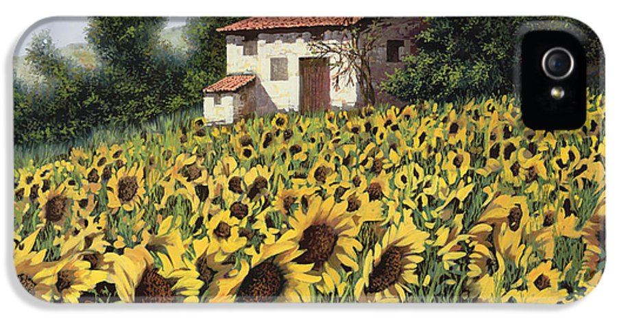Tuscany IPhone 5 Case featuring the painting I Girasoli Nel Campo by Guido Borelli