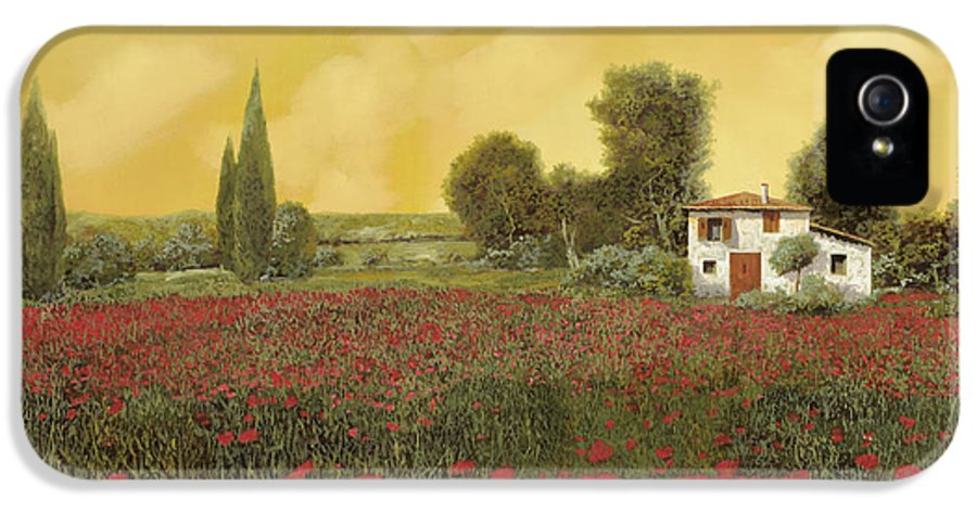 Summer IPhone 5 Case featuring the painting I Papaveri E La Calda Estate by Guido Borelli