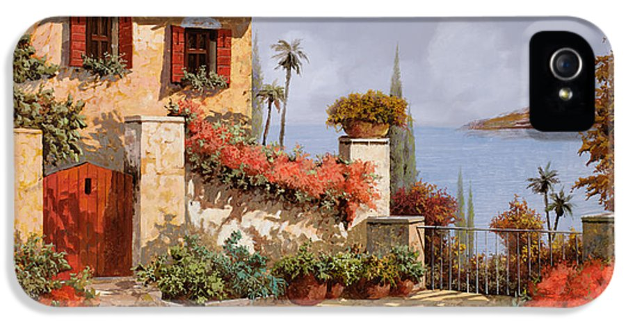 Red House IPhone 5 Case featuring the painting Il Giardino Rosso by Guido Borelli