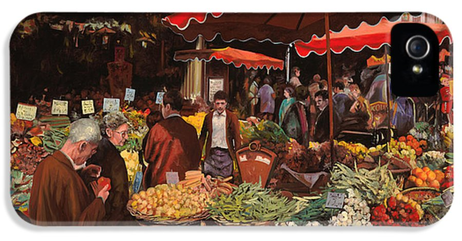 Market IPhone 5 Case featuring the painting Il Mercato Di Quartiere by Guido Borelli