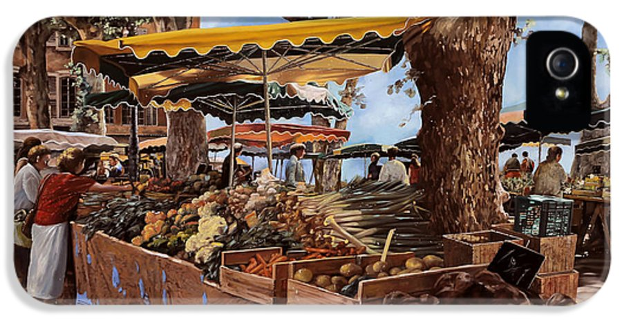 St Paul IPhone 5 Case featuring the painting il mercato di St Paul by Guido Borelli