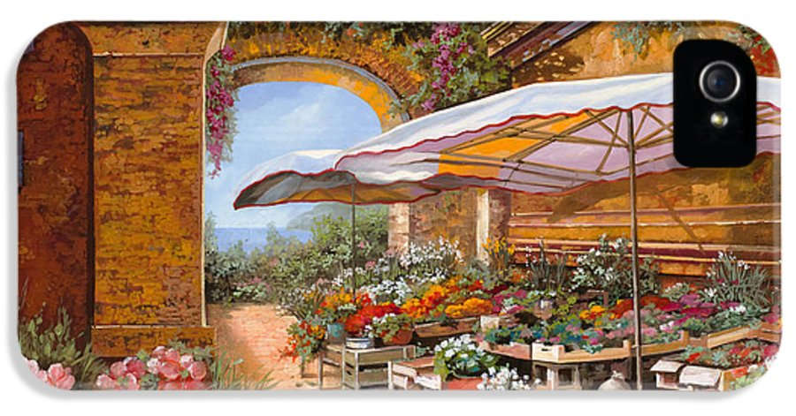 Market IPhone 5 Case featuring the painting Il Mercato Sotto I Portici by Guido Borelli