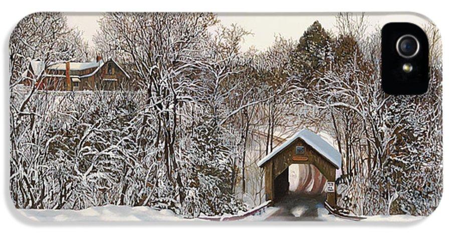 Stowe IPhone 5 Case featuring the painting Il Ponte Coperto Di Legno by Guido Borelli