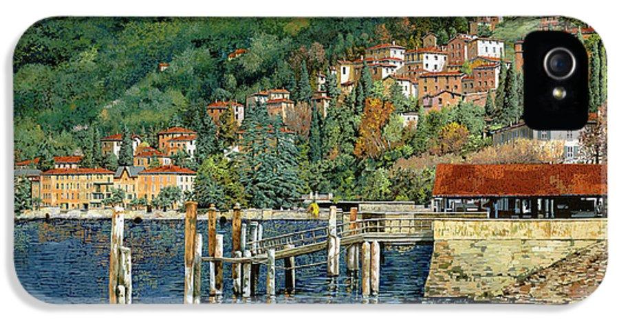 Lake Como IPhone 5 Case featuring the painting il porto di Bellano by Guido Borelli