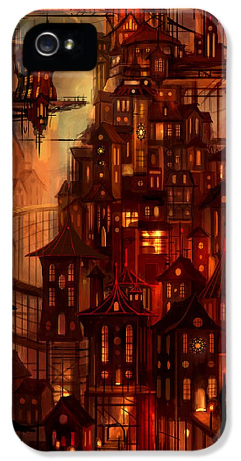 Surreal IPhone 5 Case featuring the painting Illuminations by Philip Straub