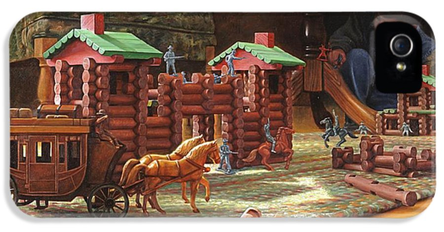 Lincoln Logs IPhone 5 Case featuring the painting Imagination Final Frontier by Greg Olsen