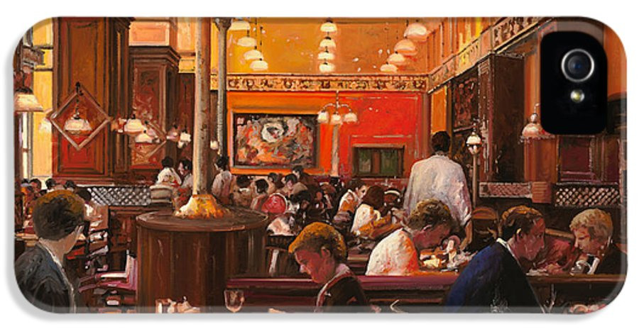 Coffee Shop IPhone 5 Case featuring the painting In Birreria by Guido Borelli