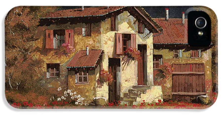 Landscape IPhone 5 Case featuring the painting In Campagna La Sera by Guido Borelli