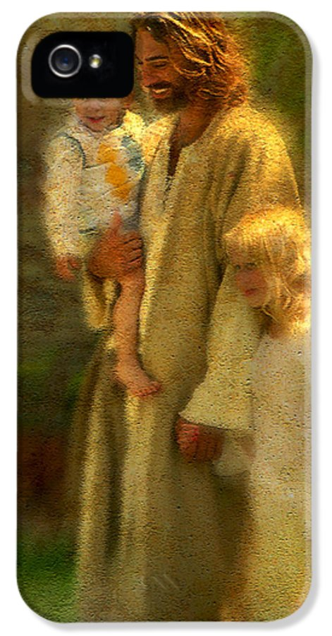 Jesus IPhone 5 Case featuring the painting In The Arms Of His Love by Greg Olsen