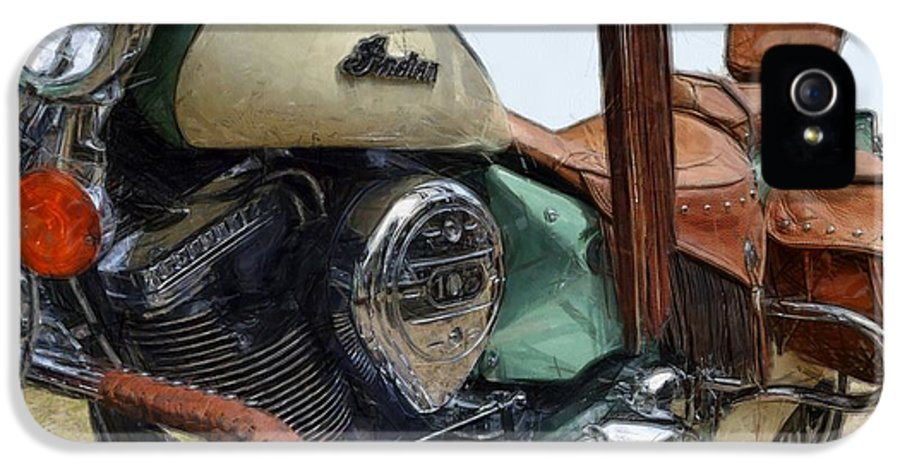 Power IPhone 5 Case featuring the photograph Indian Chief Vintage L by Michelle Calkins