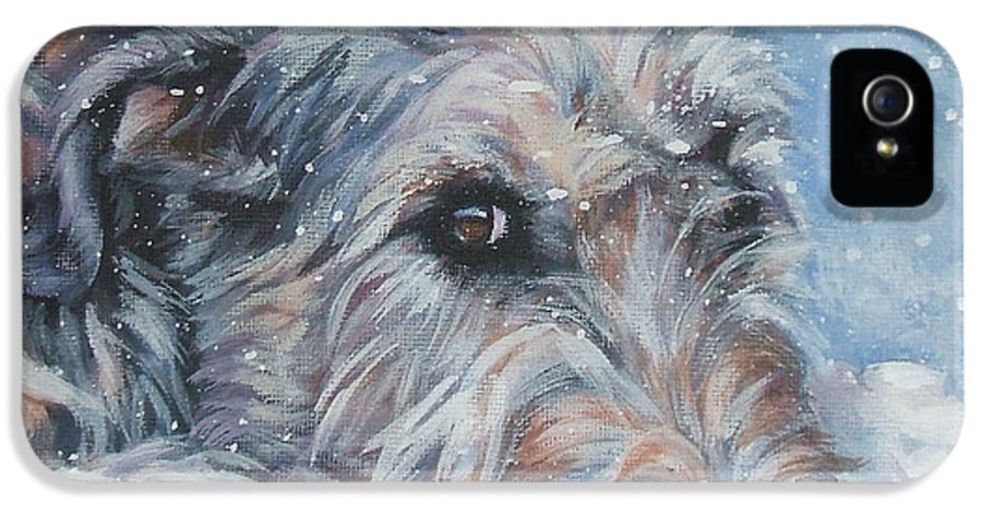 Irish Wolfhound IPhone 5 Case featuring the painting Irish Wolfhound Resting by Lee Ann Shepard