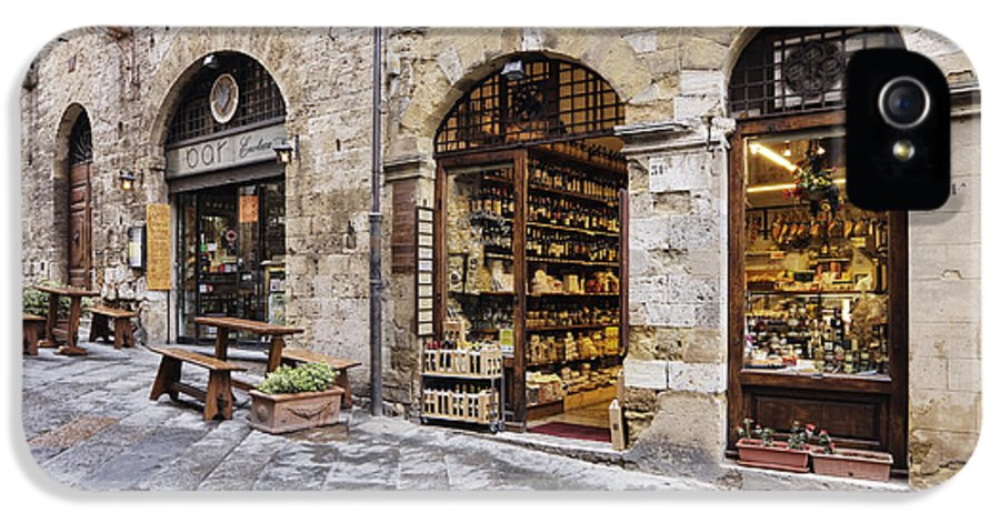 Architectural Detail IPhone 5 Case featuring the photograph Italian Delicatessen Or Macelleria by Jeremy Woodhouse