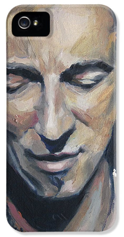 Bruce IPhone 5 Case featuring the painting It's Boss Time II - Bruce Springsteen Portrait by Khairzul MG