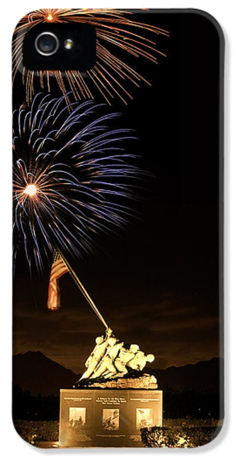 Iwo IPhone 5 Case featuring the photograph Iwo Jima Flag Raising by Michael Peychich
