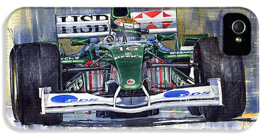 Watercolour IPhone 5 Case featuring the painting Jaguar R3 Cosworth F1 2002 Eddie Irvine by Yuriy Shevchuk