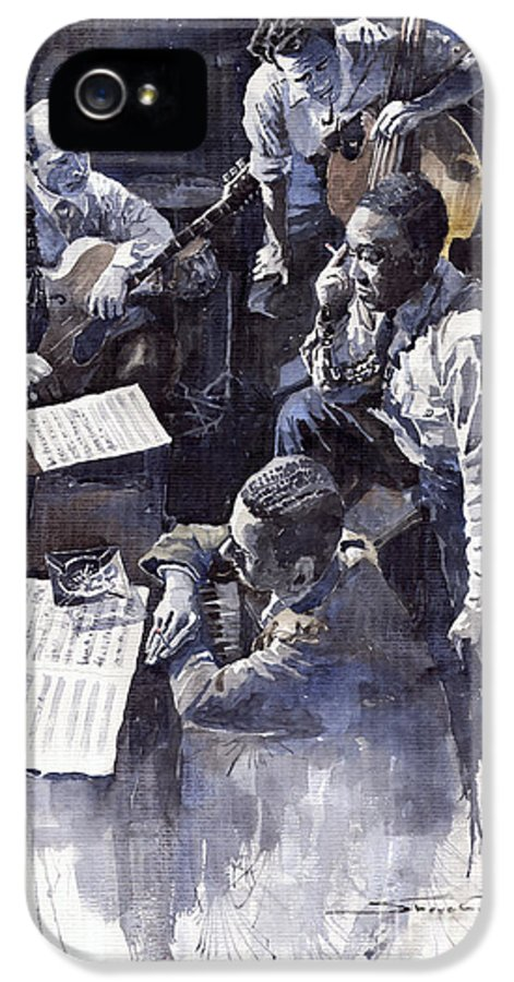 Jazz IPhone 5 Case featuring the painting Jazz Parker Tristano Bauer Safransky Rca Studio Ny 1949 by Yuriy Shevchuk