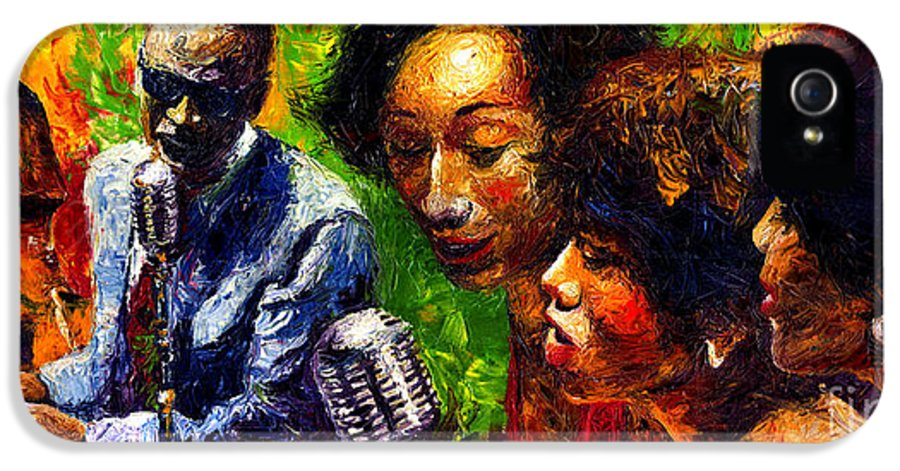 Jazz IPhone 5 Case featuring the painting Jazz Ray Song by Yuriy Shevchuk