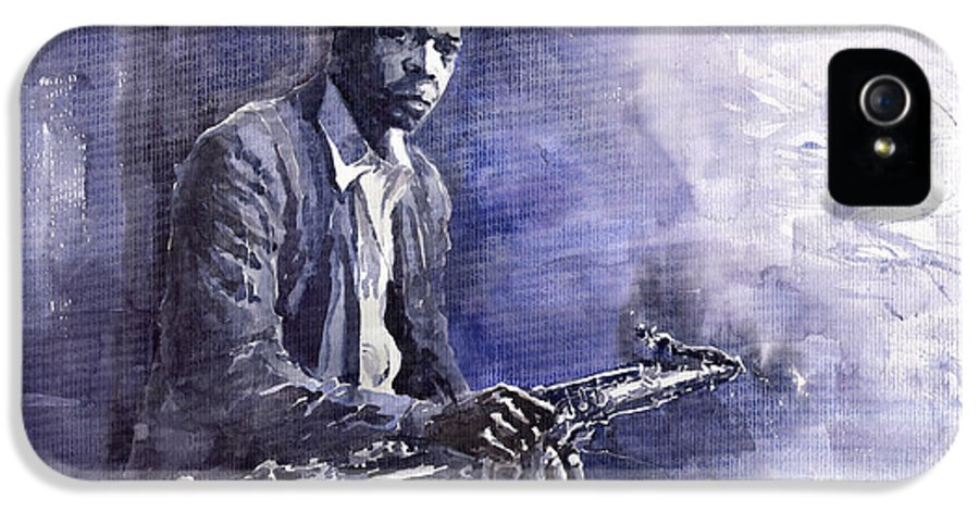 Figurative IPhone 5 Case featuring the painting Jazz Saxophonist John Coltrane 03 by Yuriy Shevchuk