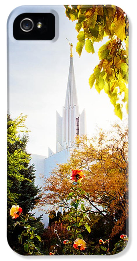 Jordan River Temple IPhone 5 / 5s Case featuring the photograph Jordan River Temple Rose by La Rae Roberts
