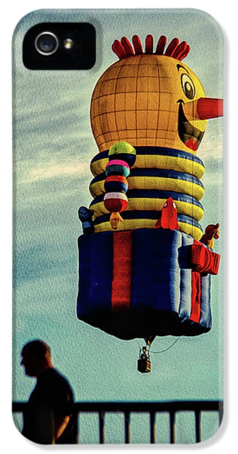 Jack-in-the-box IPhone 5 Case featuring the photograph Just Passing Through Hot Air Balloon by Bob Orsillo