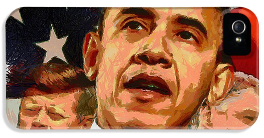 Portrait IPhone 5 Case featuring the painting Kennedy-clinton-obama by Anthony Caruso