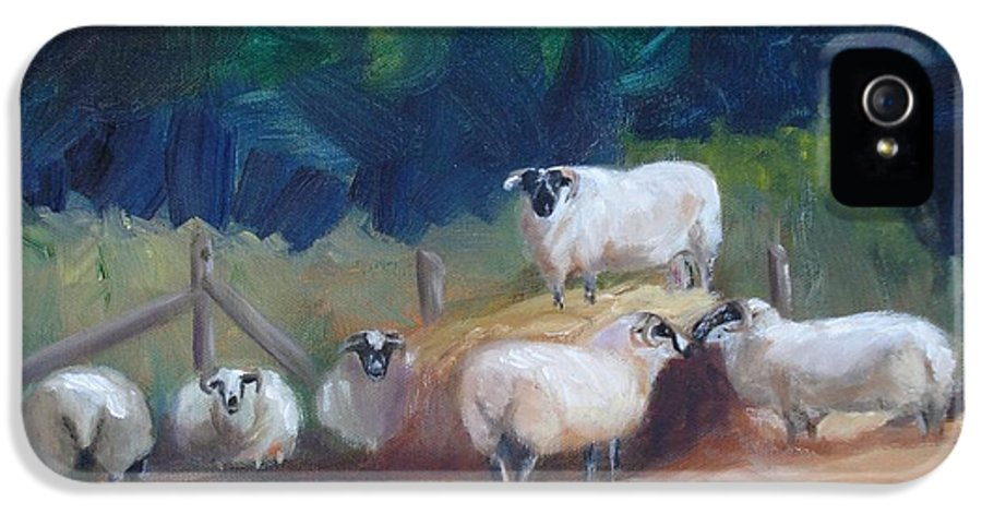 Sheep IPhone 5 Case featuring the painting King Of Green Hill Farm by Donna Tuten