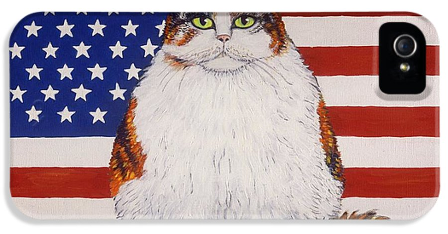Folk Art Cat IPhone 5 Case featuring the painting Kitty Ross by Linda Mears