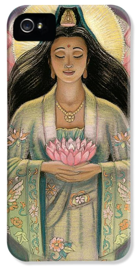 Kuan Yin IPhone 5 / 5s Case featuring the painting Kuan Yin Pink Lotus Heart by Sue Halstenberg