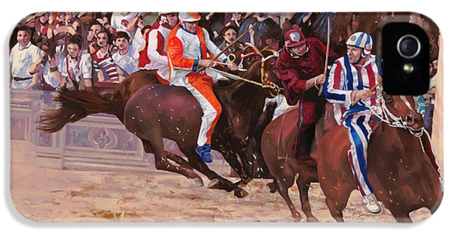 Italy IPhone 5 Case featuring the painting La Corsa Del Palio by Guido Borelli