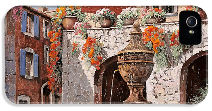 St Paul IPhone 5 Case featuring the painting la fontana a St Paul de Vence by Guido Borelli