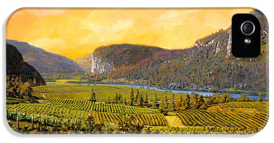 Wine IPhone 5 Case featuring the painting La Vigna Sul Fiume by Guido Borelli