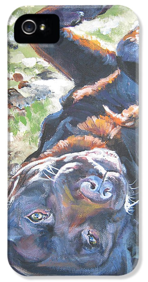 Dog IPhone 5 Case featuring the painting Labrador Retriever Chocolate Fun by Lee Ann Shepard