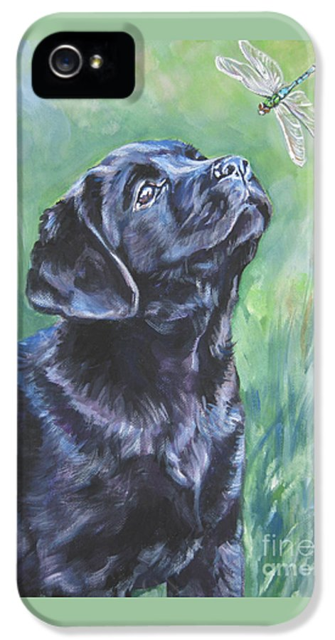 Dog IPhone 5 Case featuring the painting Labrador Retriever Pup And Dragonfly by Lee Ann Shepard