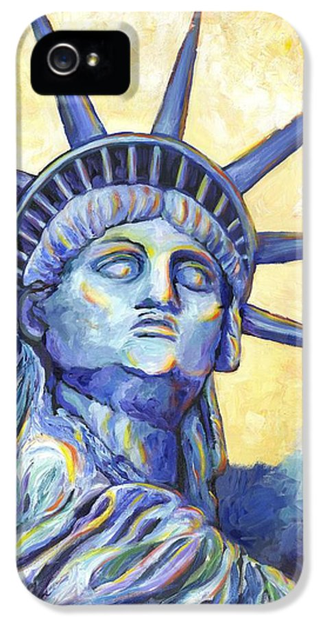 Statue Of Liberty IPhone 5 Case featuring the painting Lady Liberty by Linda Mears