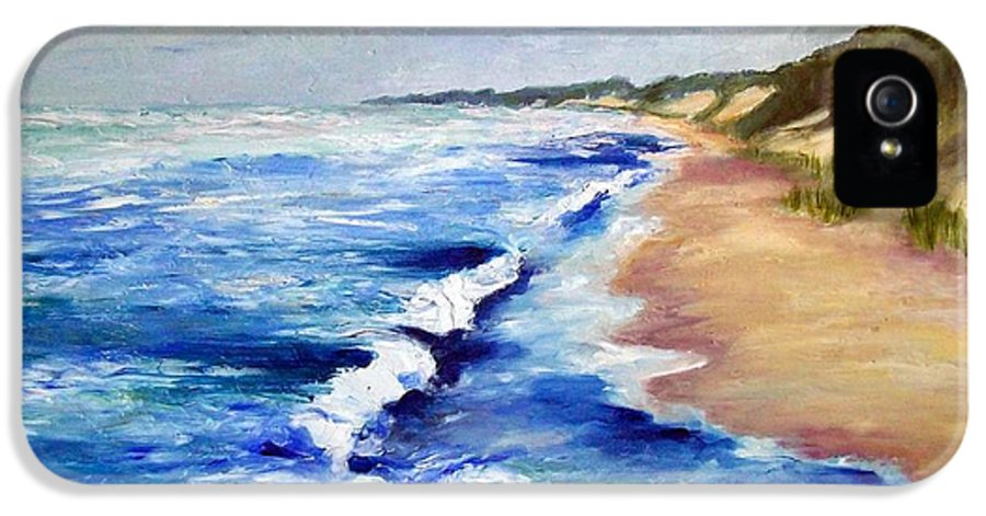 Whitecaps IPhone 5 Case featuring the painting Lake Michigan Beach With Whitecaps by Michelle Calkins