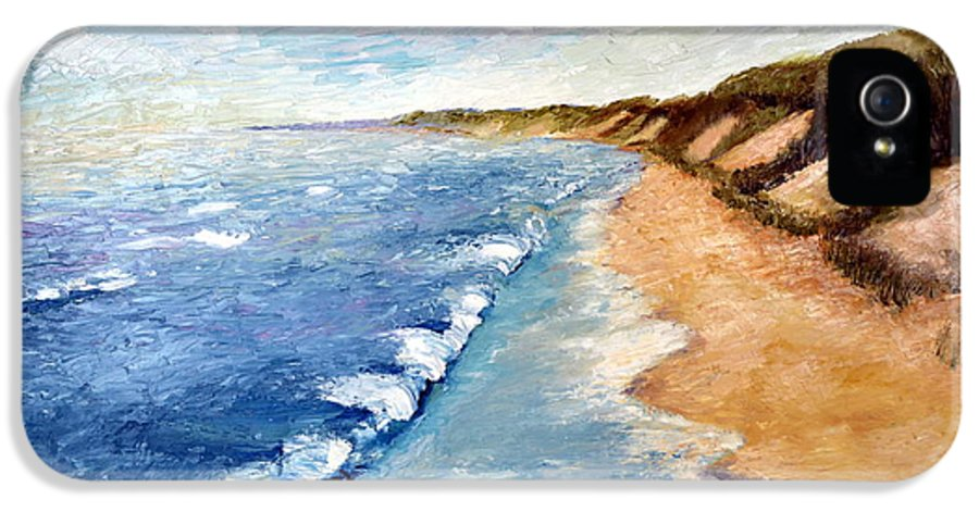 Whitecaps IPhone 5 Case featuring the painting Lake Michigan With Whitecaps Ll by Michelle Calkins