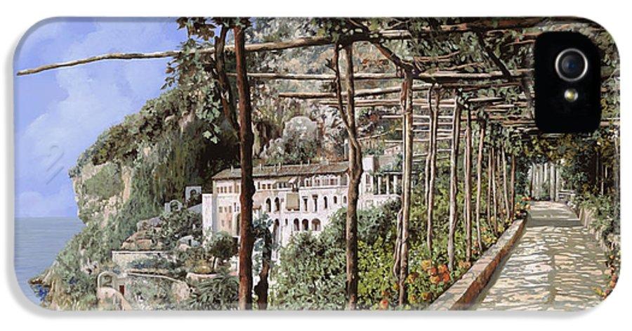 Landscape IPhone 5 Case featuring the painting L'albergo Dei Cappuccini-costiera Amalfitana by Guido Borelli