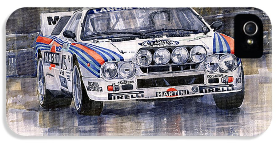 Watercolor IPhone 5 Case featuring the painting Lancia 037 Martini Rally 1983 by Yuriy Shevchuk