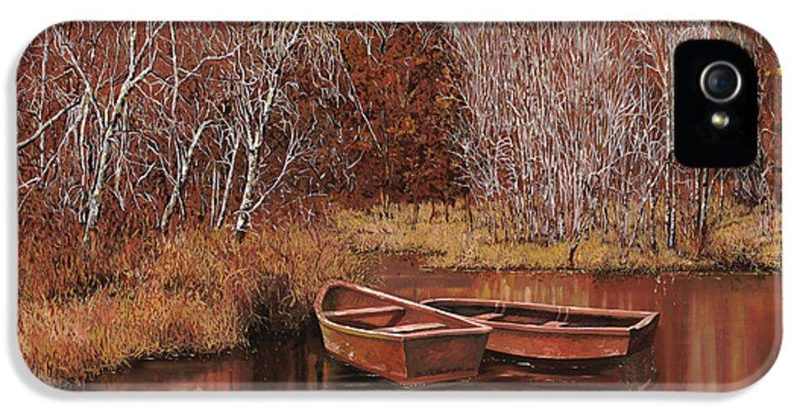 Boats IPhone 5 Case featuring the painting Le Barche Sullo Stagno by Guido Borelli