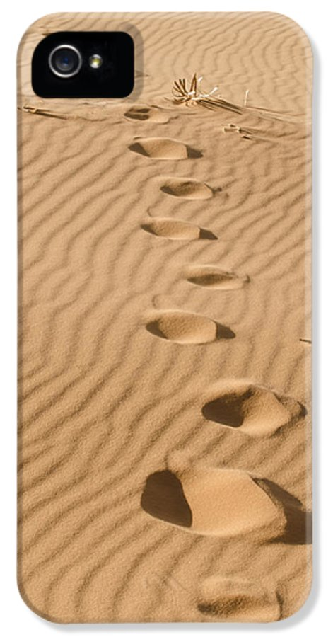Coral Pink Sand Dunes IPhone 5 Case featuring the photograph Leave Only Footprints by Heather Applegate