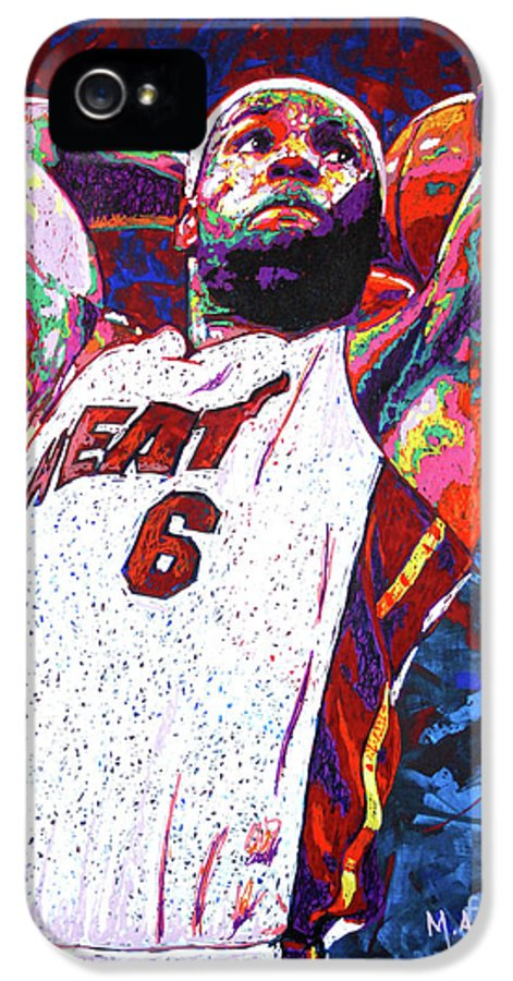 Lebron IPhone 5 Case featuring the painting Lebron Dunk by Maria Arango